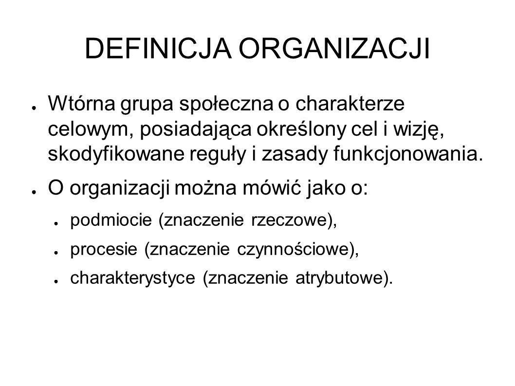 DEFINICJA ORGANIZACJI ● Wtórna grupa społeczna o charakterze celowym, posiadająca określony cel i wizję, skodyfikowane reguły i zasady funkcjonowania.