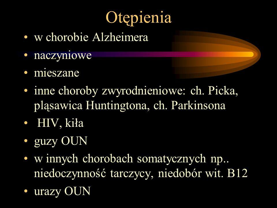 Otępienia w chorobie Alzheimera naczyniowe mieszane inne choroby zwyrodnieniowe: ch. Picka, pląsawica Huntingtona, ch. Parkinsona HIV, kiła guzy OUN w