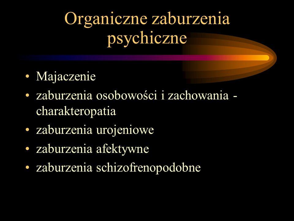 Organiczne zaburzenia psychiczne Majaczenie zaburzenia osobowości i zachowania - charakteropatia zaburzenia urojeniowe zaburzenia afektywne zaburzenia