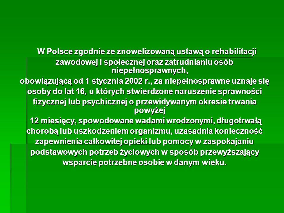 W Polsce zgodnie ze znowelizowaną ustawą o rehabilitacji W Polsce zgodnie ze znowelizowaną ustawą o rehabilitacji zawodowej i społecznej oraz zatrudni