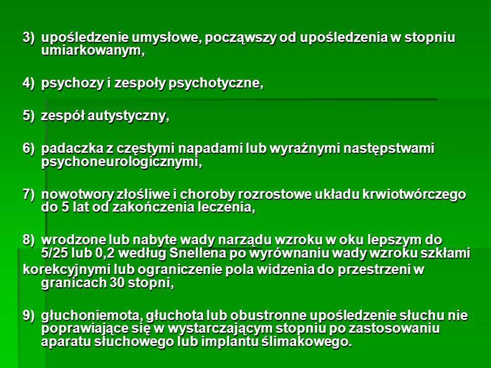 3)upośledzenie umysłowe, począwszy od upośledzenia w stopniu umiarkowanym, 4)psychozy i zespoły psychotyczne, 5)zespół autystyczny, 6)padaczka z częst