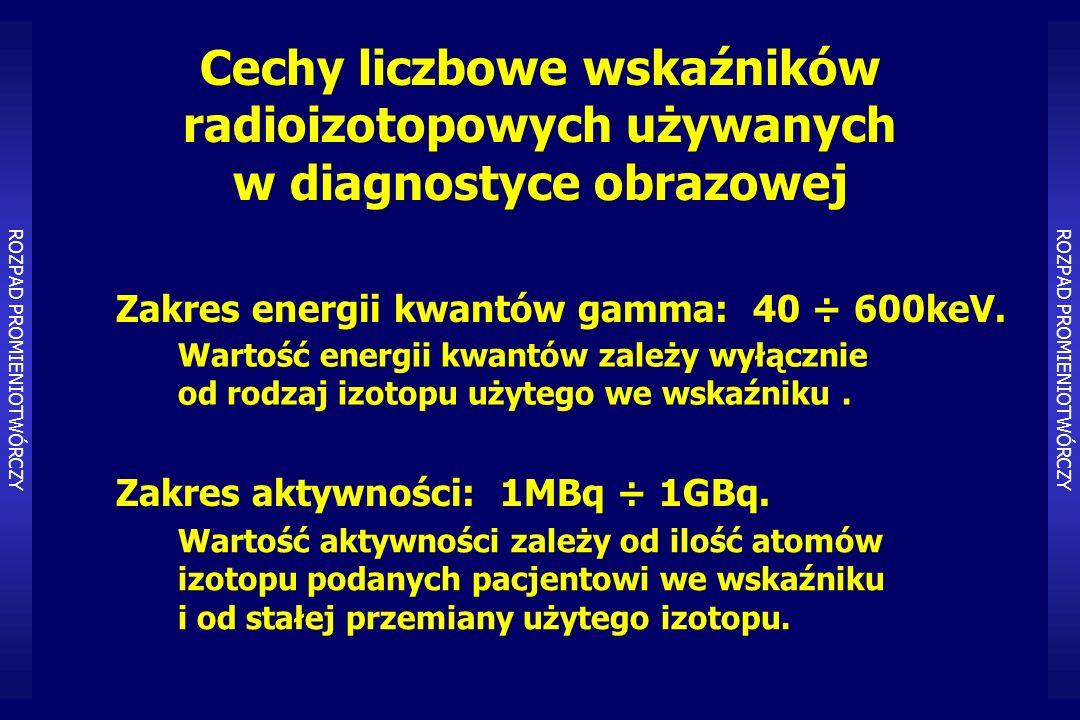 Cechy liczbowe wskaźników radioizotopowych używanych w diagnostyce obrazowej Zakres aktywności: 1MBq ÷ 1GBq.