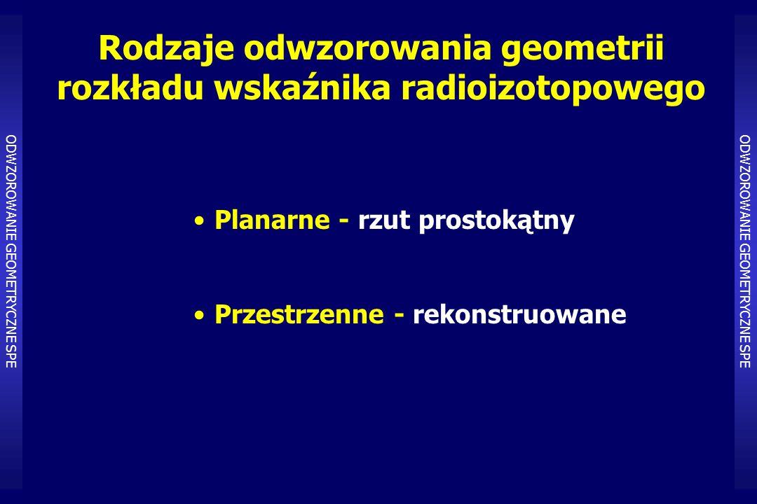 Rodzaje odwzorowania geometrii rozkładu wskaźnika radioizotopowego Planarne - rzut prostokątny Przestrzenne - rekonstruowane ODWZOROWANIE GEOMETRYCZNE SPE