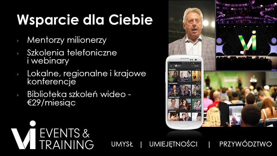 Wsparcie dla Ciebie ‣ Mentorzy milionerzy ‣ Szkolenia telefoniczne i webinary ‣ Lokalne, regionalne i krajowe konferencje ‣ Biblioteka szkoleń wideo - €29/miesiąc UMYSŁ | UMIEJĘTNOŚCI | PRZYWÓDZTWO