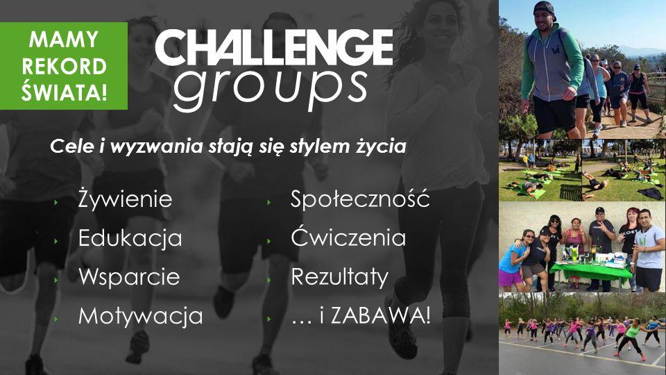 Cele i wyzwania stają się stylem życia groups ‣ Żywienie ‣ Edukacja ‣ Wsparcie ‣ Motywacja ‣ Społeczność ‣ Ćwiczenia ‣ Rezultaty ‣ … i ZABAWA.