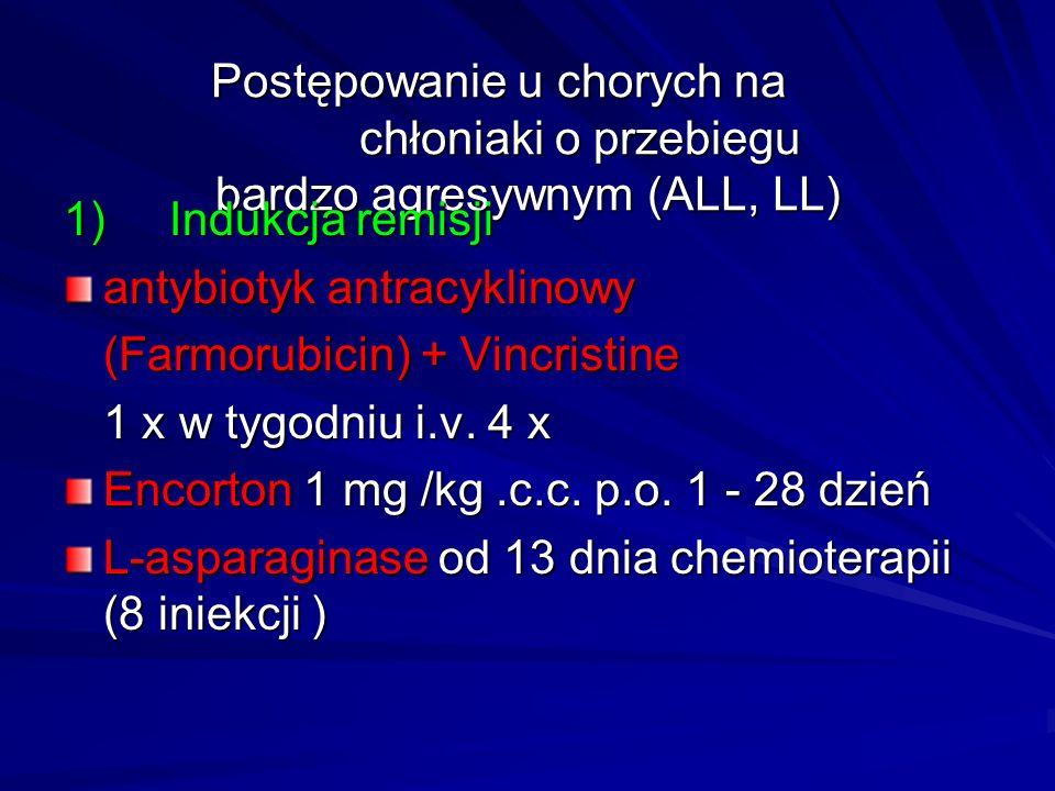 Postępowanie u chorych na chłoniaki o przebiegu bardzo agresywnym (ALL, LL) 1)Indukcja remisji antybiotyk antracyklinowy (Farmorubicin) + Vincristine