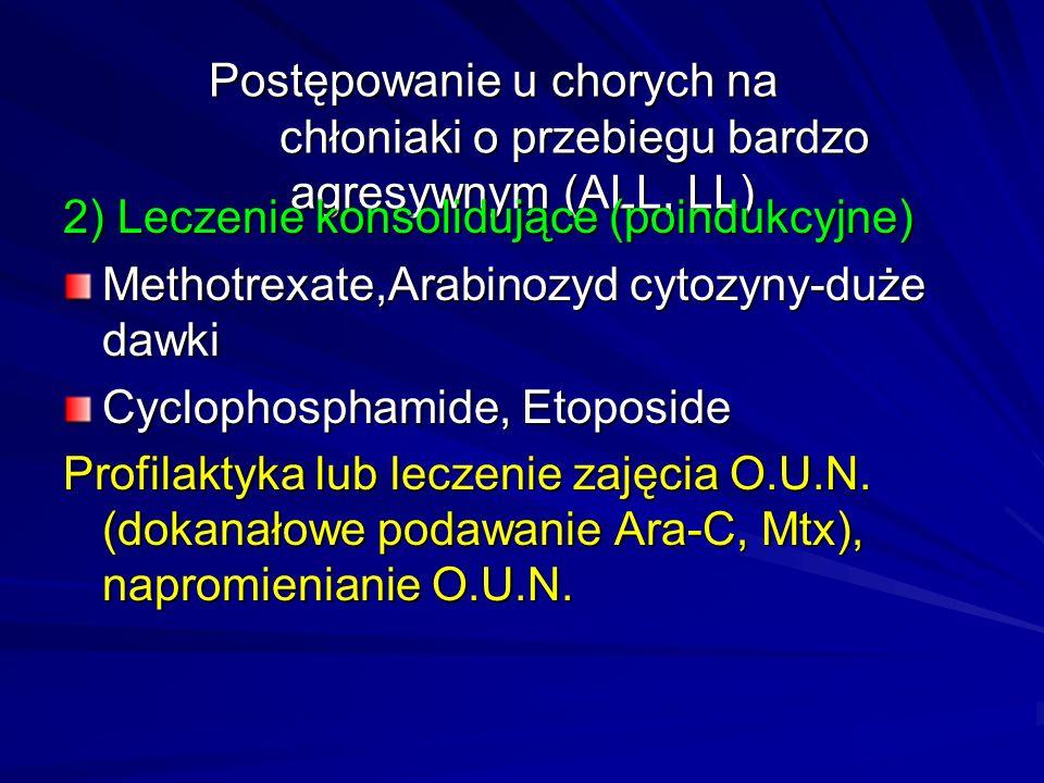 Postępowanie u chorych na chłoniaki o przebiegu bardzo agresywnym (ALL, LL) 2) Leczenie konsolidujące (poindukcyjne) Methotrexate,Arabinozyd cytozyny-