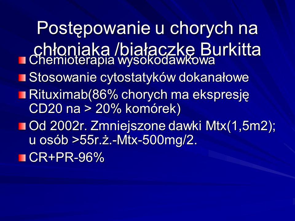Postępowanie u chorych na chłoniaka /białaczkę Burkitta Chemioterapia wysokodawkowa Stosowanie cytostatyków dokanałowe Rituximab(86% chorych ma ekspre