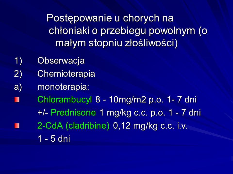 Postępowanie u chorych na chłoniaki o przebiegu powolnym (o małym stopniu złośliwości) 1)Obserwacja 2)Chemioterapia a)monoterapia: Chlorambucyl 8 - 10mg/m2 p.o.
