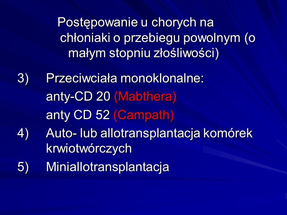 Postępowanie u chorych na chłoniaki o przebiegu powolnym (o małym stopniu złośliwości) 3)Przeciwciała monoklonalne: anty-CD 20 (Mabthera) anty CD 52 (