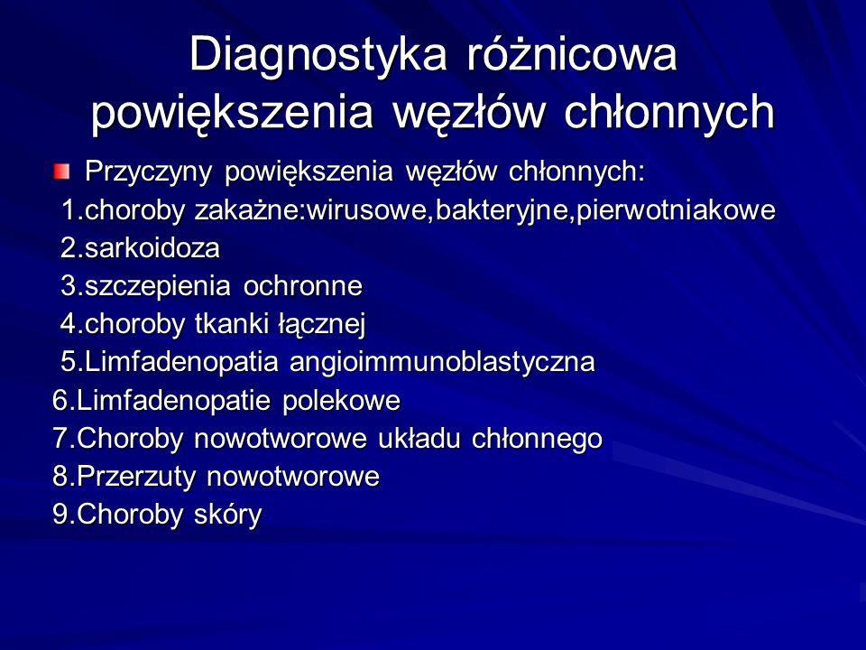 Diagnostyka różnicowa powiększenia węzłów chłonnych Przyczyny powiększenia węzłów chłonnych: 1.choroby zakażne:wirusowe,bakteryjne,pierwotniakowe 1.choroby zakażne:wirusowe,bakteryjne,pierwotniakowe 2.sarkoidoza 2.sarkoidoza 3.szczepienia ochronne 3.szczepienia ochronne 4.choroby tkanki łącznej 4.choroby tkanki łącznej 5.Limfadenopatia angioimmunoblastyczna 5.Limfadenopatia angioimmunoblastyczna 6.Limfadenopatie polekowe 7.Choroby nowotworowe układu chłonnego 8.Przerzuty nowotworowe 9.Choroby skóry
