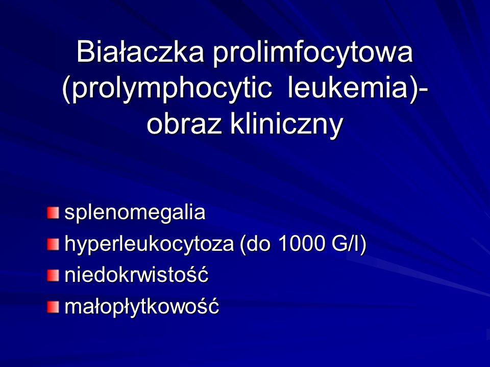 Białaczka prolimfocytowa (prolymphocytic leukemia)- obraz kliniczny splenomegalia hyperleukocytoza (do 1000 G/l) niedokrwistośćmałopłytkowość