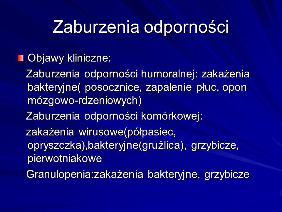 Zaburzenia odporności Objawy kliniczne: Zaburzenia odporności humoralnej: zakażenia bakteryjne( posocznice, zapalenie płuc, opon mózgowo-rdzeniowych) Zaburzenia odporności humoralnej: zakażenia bakteryjne( posocznice, zapalenie płuc, opon mózgowo-rdzeniowych) Zaburzenia odporności komórkowej: Zaburzenia odporności komórkowej: zakażenia wirusowe(półpasiec, opryszczka),bakteryjne(grużlica), grzybicze, pierwotniakowe zakażenia wirusowe(półpasiec, opryszczka),bakteryjne(grużlica), grzybicze, pierwotniakowe Granulopenia:zakażenia bakteryjne, grzybicze Granulopenia:zakażenia bakteryjne, grzybicze