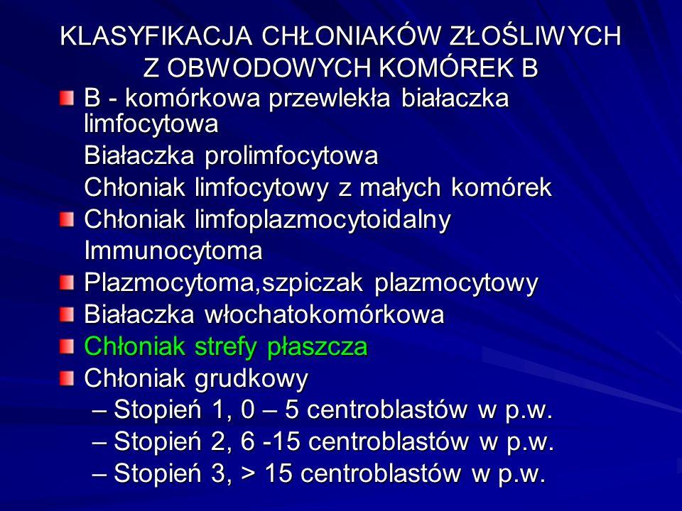 Symptomatologia chłoniaków Zmiany metaboliczne: hiperurikemia( dna moczanowa, niewydolność nerek) hiperurikemia( dna moczanowa, niewydolność nerek) hiperkalcemia:mdłości, wymioty, zaburzenia rytmu serca, zaburzenia świadomości hiperkalcemia:mdłości, wymioty, zaburzenia rytmu serca, zaburzenia świadomości