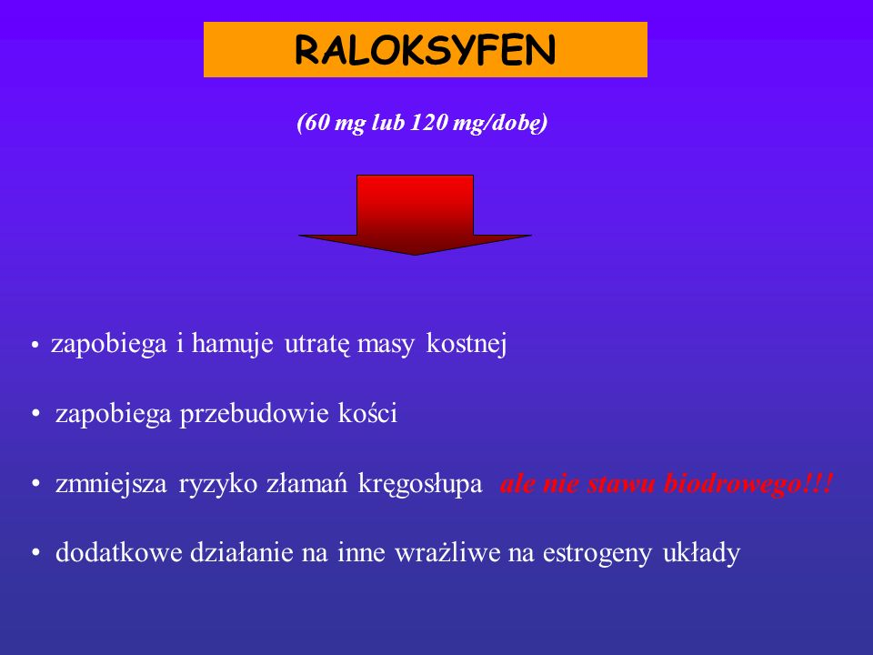 RALOKSYFEN zapobiega i hamuje utratę masy kostnej zapobiega przebudowie kości zmniejsza ryzyko złamań kręgosłupa ale nie stawu biodrowego!!! dodatkowe