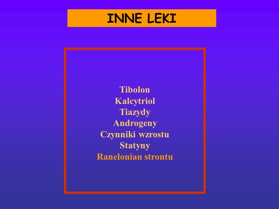 INNE LEKI Tibolon Kalcytriol Tiazydy Androgeny Czynniki wzrostu Statyny Ranelonian strontu