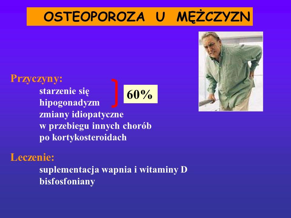 Leczenie: suplementacja wapnia i witaminy D bisfosfoniany OSTEOPOROZA U MĘŻCZYZN 60% Przyczyny: starzenie się hipogonadyzm zmiany idiopatyczne w przeb
