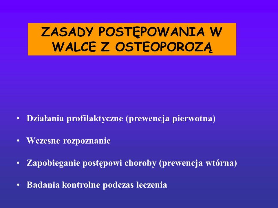 ZASADY POSTĘPOWANIA W WALCE Z OSTEOPOROZĄ Działania profilaktyczne (prewencja pierwotna) Wczesne rozpoznanie Zapobieganie postępowi choroby (prewencja