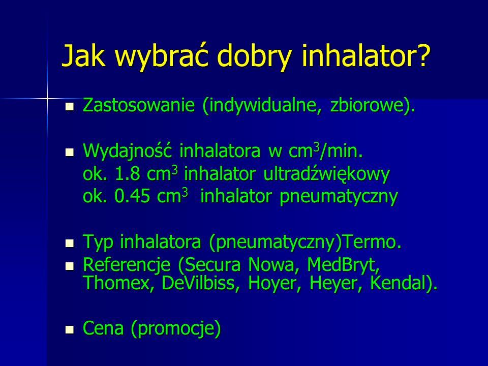 Jak wybrać dobry inhalator? Zastosowanie (indywidualne, zbiorowe). Zastosowanie (indywidualne, zbiorowe). Wydajność inhalatora w cm 3 /min. Wydajność