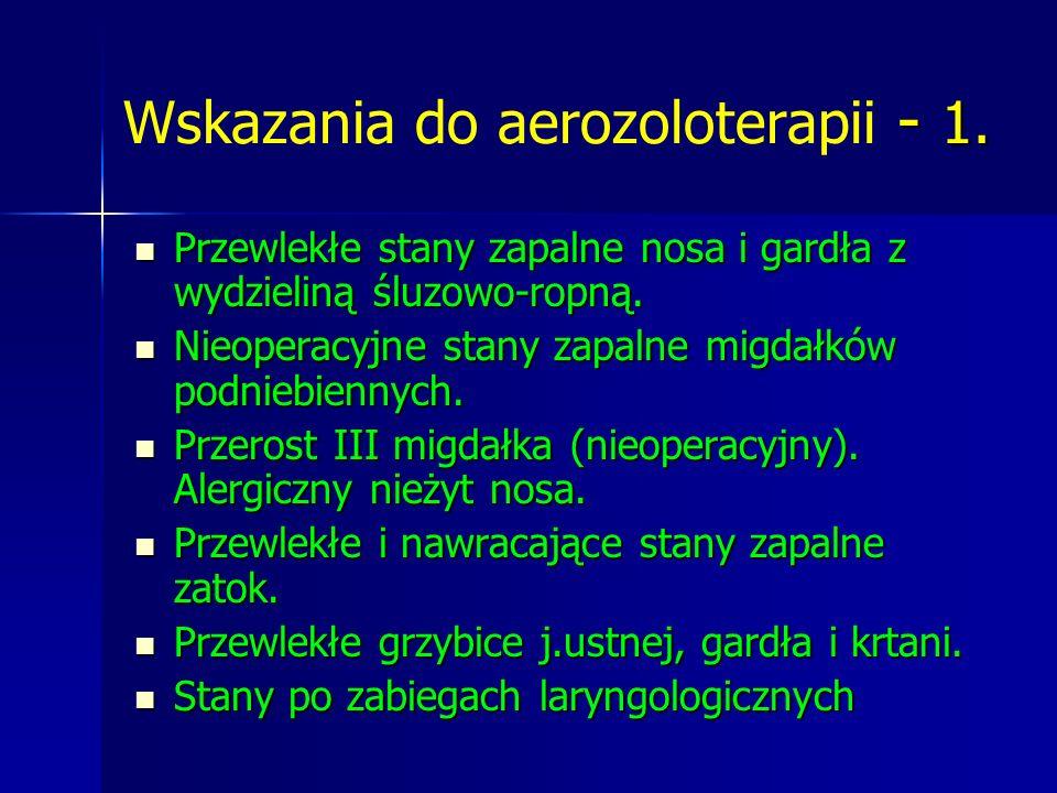 - 1. Wskazania do aerozoloterapii - 1. Przewlekłe stany zapalne nosa i gardła z wydzieliną śluzowo-ropną. Przewlekłe stany zapalne nosa i gardła z wyd