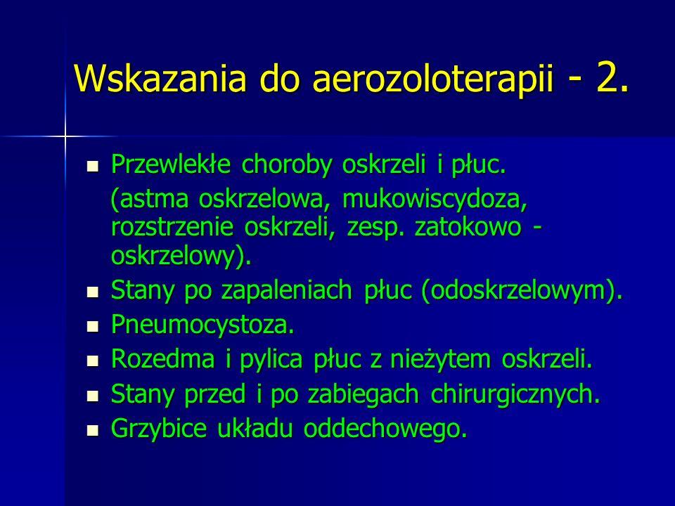 Wskazania do aerozoloterapii - 2. Przewlekłe choroby oskrzeli i płuc. Przewlekłe choroby oskrzeli i płuc. (astma oskrzelowa, mukowiscydoza, rozstrzeni