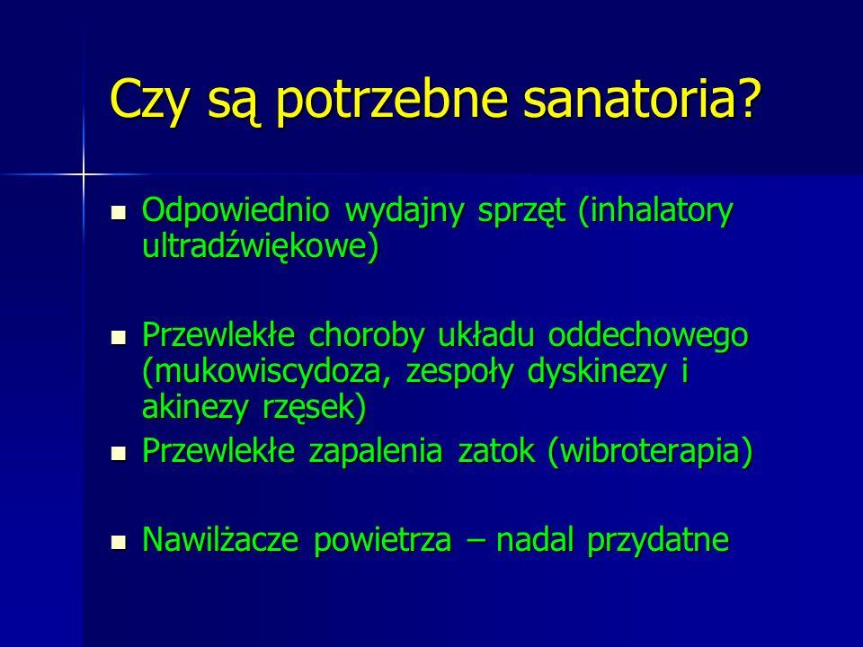 Czy są potrzebne sanatoria? Odpowiednio wydajny sprzęt (inhalatory ultradźwiękowe) Odpowiednio wydajny sprzęt (inhalatory ultradźwiękowe) Przewlekłe c