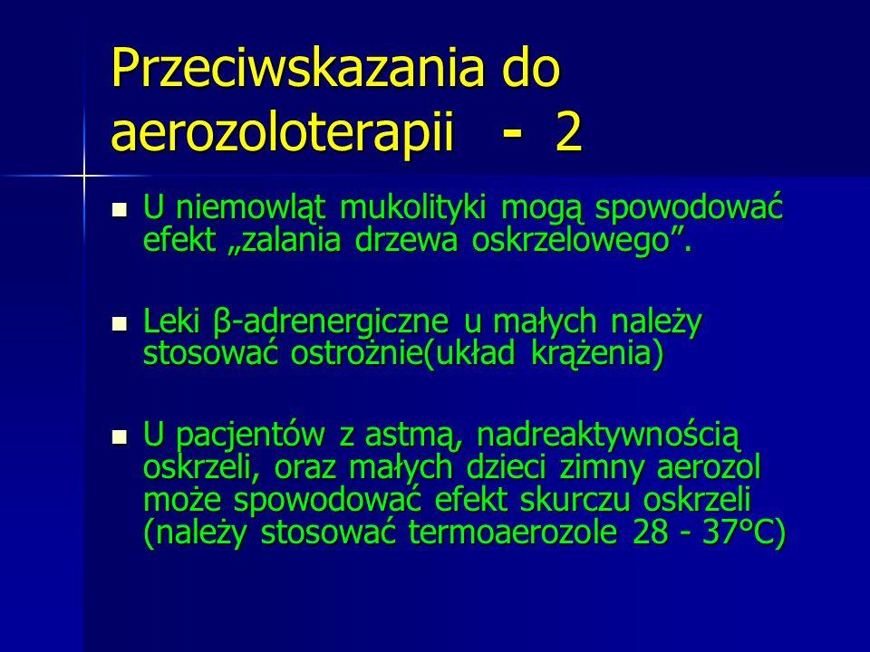 """Przeciwskazania do aerozoloterapii - 2 U niemowląt mukolityki mogą spowodować efekt """"zalania drzewa oskrzelowego"""". U niemowląt mukolityki mogą spowodo"""