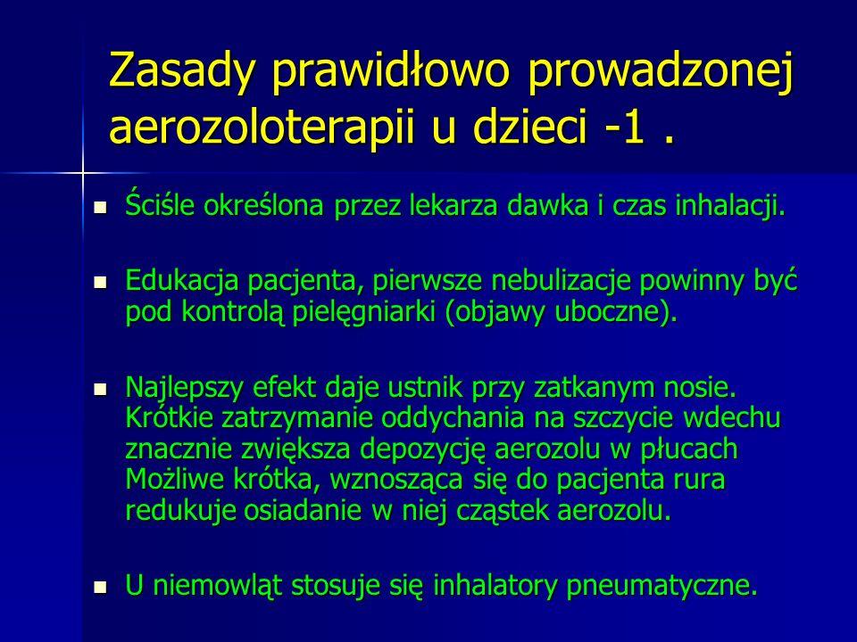 Zasady prawidłowo prowadzonej aerozoloterapii u dzieci -1. Ściśle określona przez lekarza dawka i czas inhalacji. Ściśle określona przez lekarza dawka