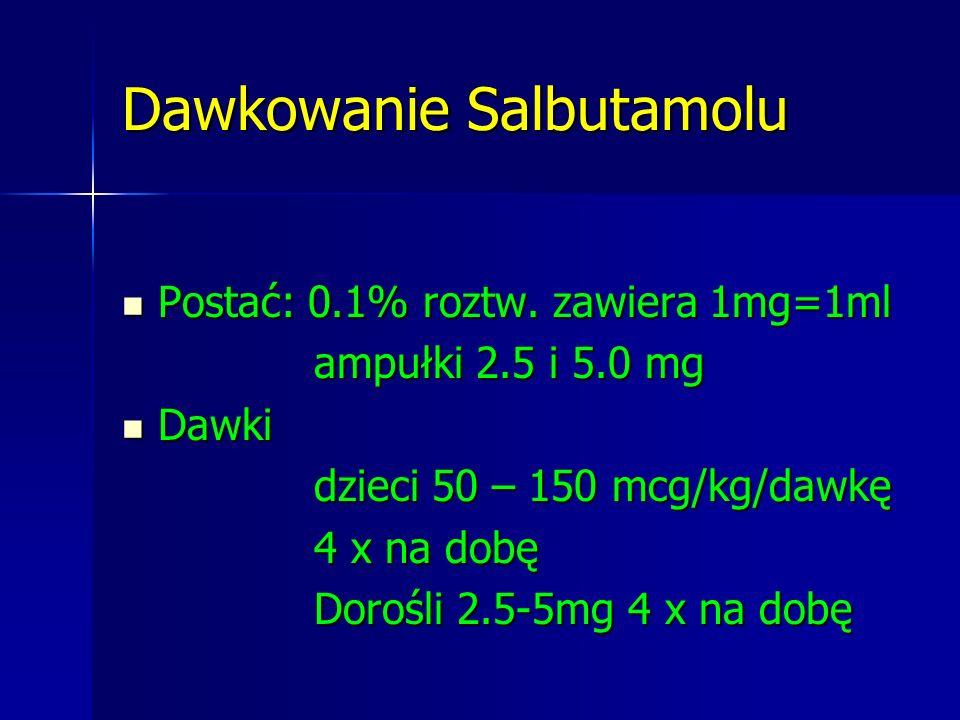 Dawkowanie Salbutamolu Postać: 0.1% roztw. zawiera 1mg=1ml Postać: 0.1% roztw. zawiera 1mg=1ml ampułki 2.5 i 5.0 mg Dawki Dawki dzieci 50 – 150 mcg/kg