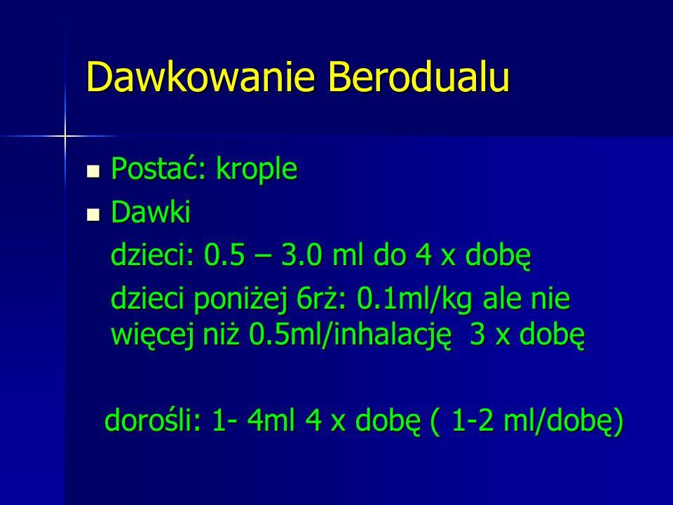 Dawkowanie Berodualu Postać: krople Postać: krople Dawki Dawki dzieci: 0.5 – 3.0 ml do 4 x dobę dzieci poniżej 6rż: 0.1ml/kg ale nie więcej niż 0.5ml/