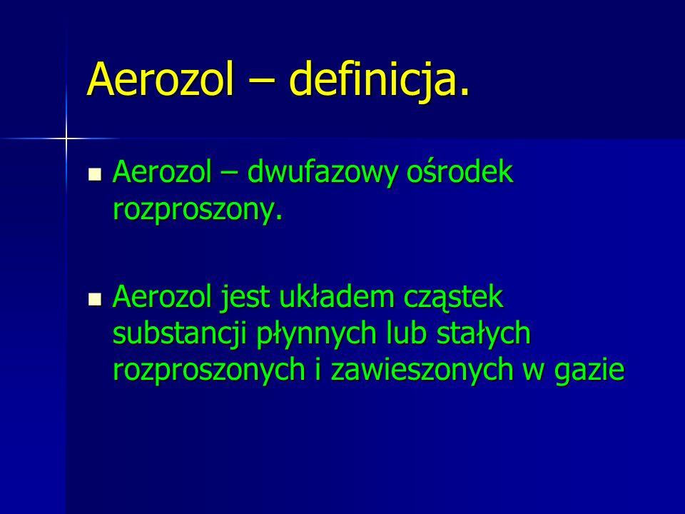 Aerozol – definicja. Aerozol – dwufazowy ośrodek rozproszony. Aerozol – dwufazowy ośrodek rozproszony. Aerozol jest układem cząstek substancji płynnyc