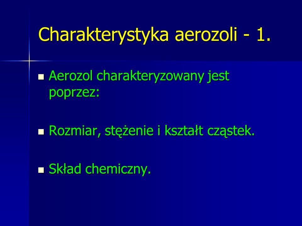 Charakterystyka aerozoli - 1. Aerozol charakteryzowany jest poprzez: Aerozol charakteryzowany jest poprzez: Rozmiar, stężenie i kształt cząstek. Rozmi