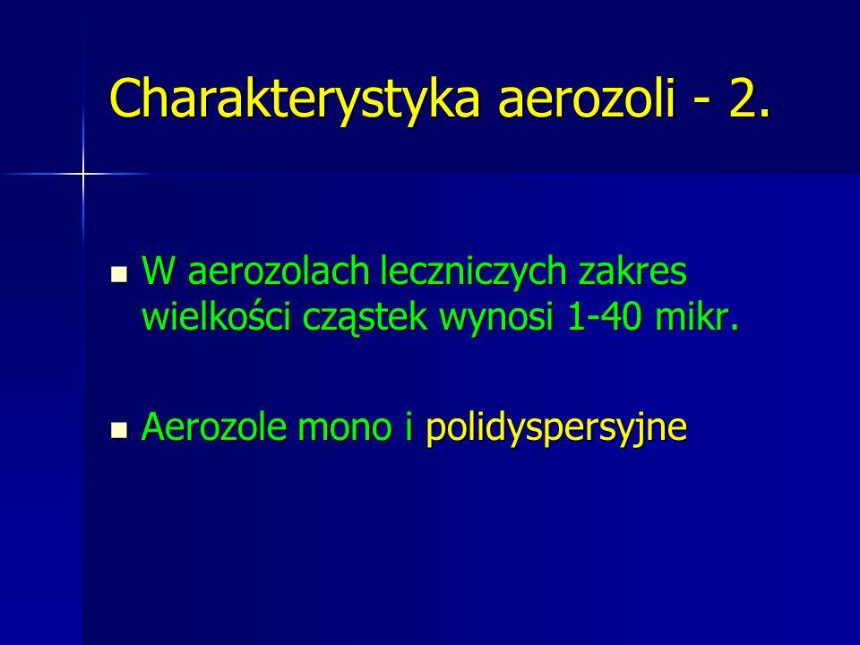 Charakterystyka aerozoli - 2. W aerozolach leczniczych zakres wielkości cząstek wynosi 1-40 mikr. W aerozolach leczniczych zakres wielkości cząstek wy