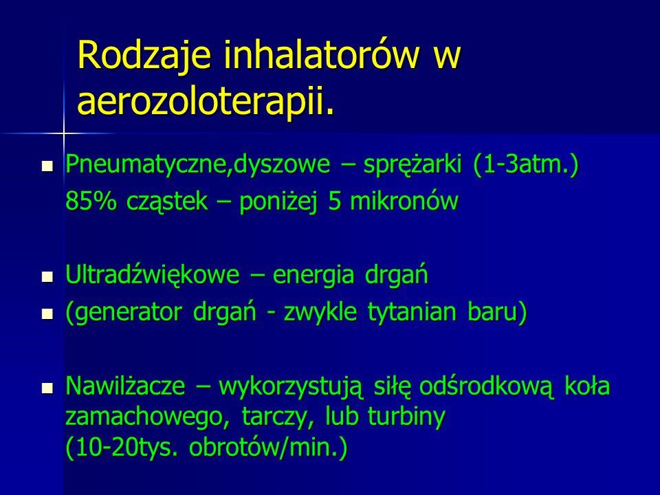 Rodzaje inhalatorów w aerozoloterapii. Pneumatyczne,dyszowe – sprężarki (1-3atm.) Pneumatyczne,dyszowe – sprężarki (1-3atm.) 85% cząstek – poniżej 5 m