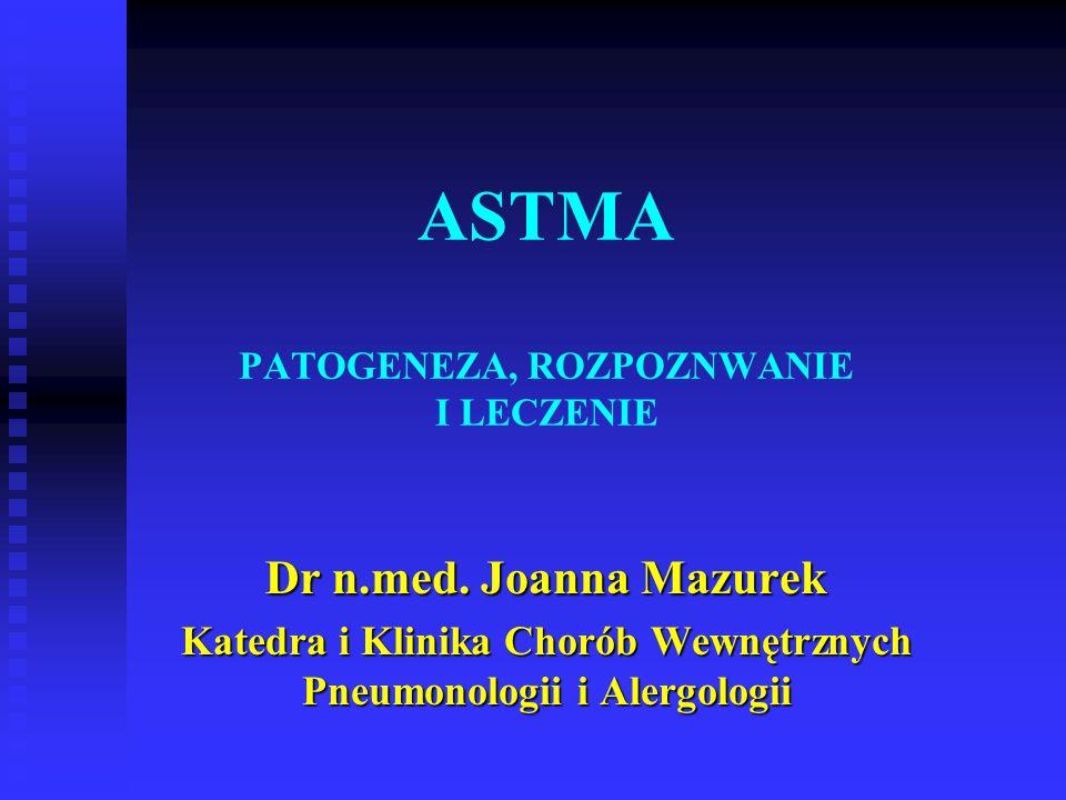 ASTMA PATOGENEZA, ROZPOZNWANIE I LECZENIE Dr n.med.