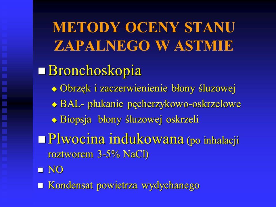 METODY OCENY STANU ZAPALNEGO W ASTMIE Bronchoskopia Bronchoskopia  Obrzęk i zaczerwienienie błony śluzowej  BAL- płukanie pęcherzykowo-oskrzelowe  Biopsja błony śluzowej oskrzeli Plwocina indukowana (po inhalacji roztworem 3-5% NaCl) Plwocina indukowana (po inhalacji roztworem 3-5% NaCl) NO NO Kondensat powietrza wydychanego Kondensat powietrza wydychanego