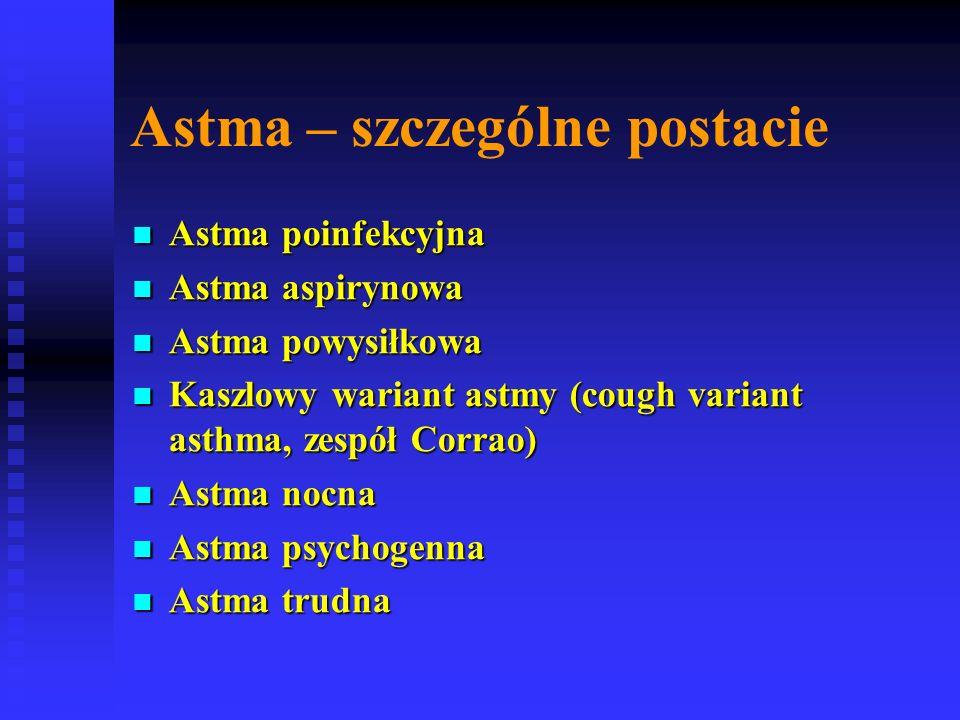 Astma – szczególne postacie Astma poinfekcyjna Astma poinfekcyjna Astma aspirynowa Astma aspirynowa Astma powysiłkowa Astma powysiłkowa Kaszlowy wariant astmy (cough variant asthma, zespół Corrao) Kaszlowy wariant astmy (cough variant asthma, zespół Corrao) Astma nocna Astma nocna Astma psychogenna Astma psychogenna Astma trudna Astma trudna