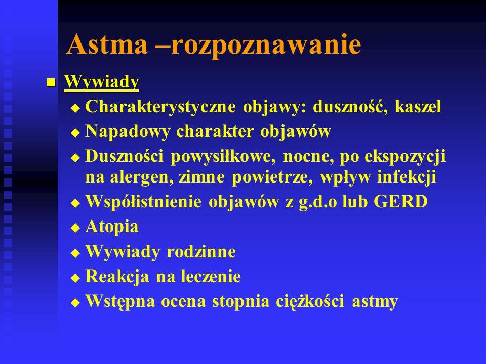 Astma –rozpoznawanie Wywiady Wywiady   Charakterystyczne objawy: duszność, kaszel   Napadowy charakter objawów   Duszności powysiłkowe, nocne, po ekspozycji na alergen, zimne powietrze, wpływ infekcji   Współistnienie objawów z g.d.o lub GERD   Atopia   Wywiady rodzinne   Reakcja na leczenie   Wstępna ocena stopnia ciężkości astmy