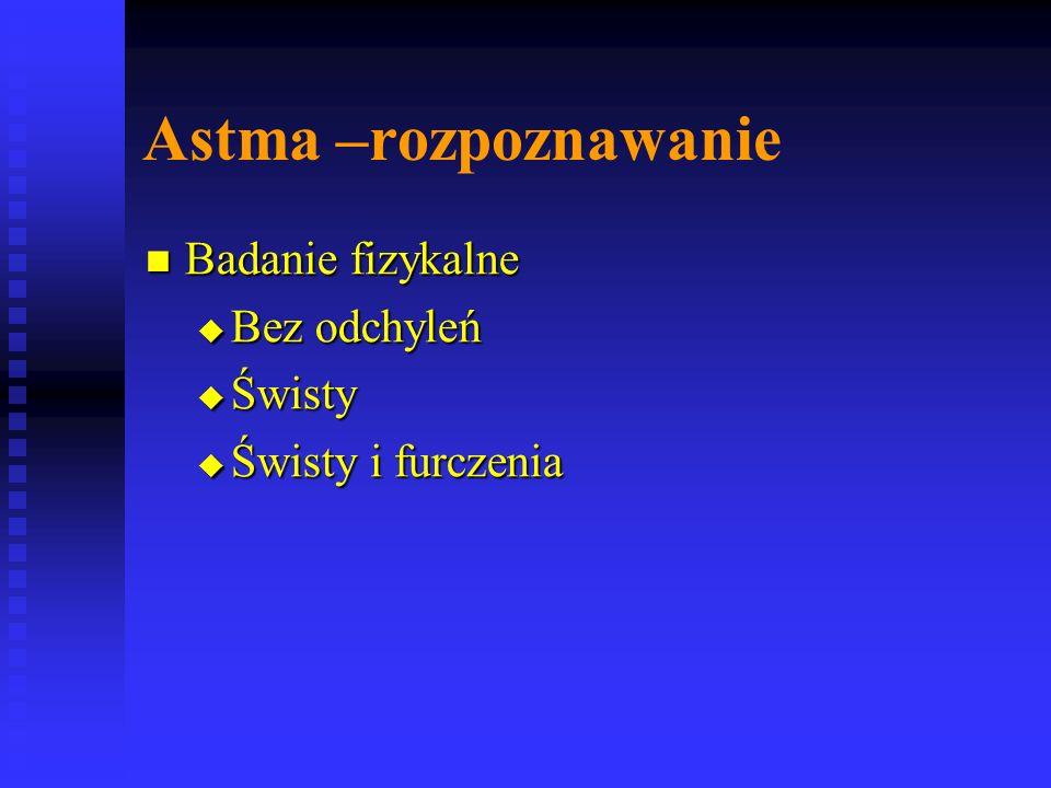 Astma –rozpoznawanie Badanie fizykalne Badanie fizykalne  Bez odchyleń  Świsty  Świsty i furczenia