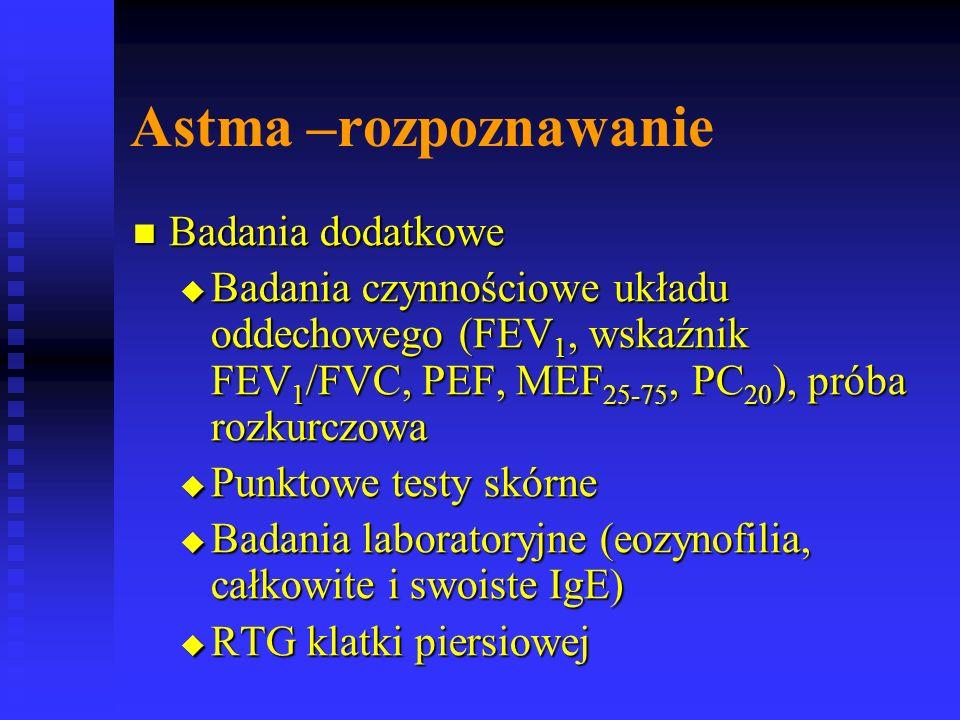 Astma –rozpoznawanie Badania dodatkowe Badania dodatkowe  Badania czynnościowe układu oddechowego (FEV 1, wskaźnik FEV 1 /FVC, PEF, MEF 25-75, PC 20 ), próba rozkurczowa  Punktowe testy skórne  Badania laboratoryjne (eozynofilia, całkowite i swoiste IgE)  RTG klatki piersiowej