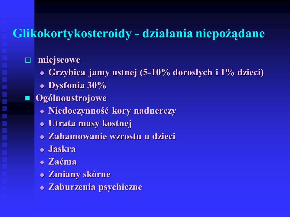 Glikokortykosteroidy - działania niepożądane  miejscowe  Grzybica jamy ustnej (5-10% dorosłych i 1% dzieci)  Dysfonia 30% Ogólnoustrojowe Ogólnoustrojowe  Niedoczynność kory nadnerczy  Utrata masy kostnej  Zahamowanie wzrostu u dzieci  Jaskra  Zaćma  Zmiany skórne  Zaburzenia psychiczne