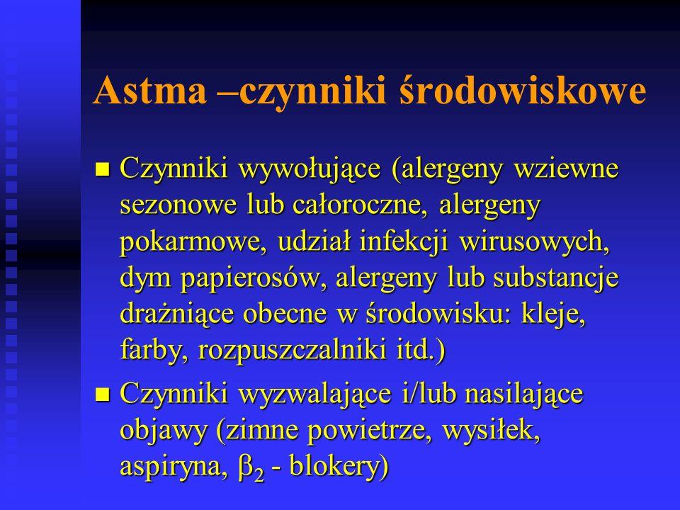 Astma –czynniki środowiskowe Czynniki wywołujące (alergeny wziewne sezonowe lub całoroczne, alergeny pokarmowe, udział infekcji wirusowych, dym papierosów, alergeny lub substancje drażniące obecne w środowisku: kleje, farby, rozpuszczalniki itd.) Czynniki wywołujące (alergeny wziewne sezonowe lub całoroczne, alergeny pokarmowe, udział infekcji wirusowych, dym papierosów, alergeny lub substancje drażniące obecne w środowisku: kleje, farby, rozpuszczalniki itd.) Czynniki wyzwalające i/lub nasilające objawy (zimne powietrze, wysiłek, aspiryna,  2 - blokery) Czynniki wyzwalające i/lub nasilające objawy (zimne powietrze, wysiłek, aspiryna,  2 - blokery)
