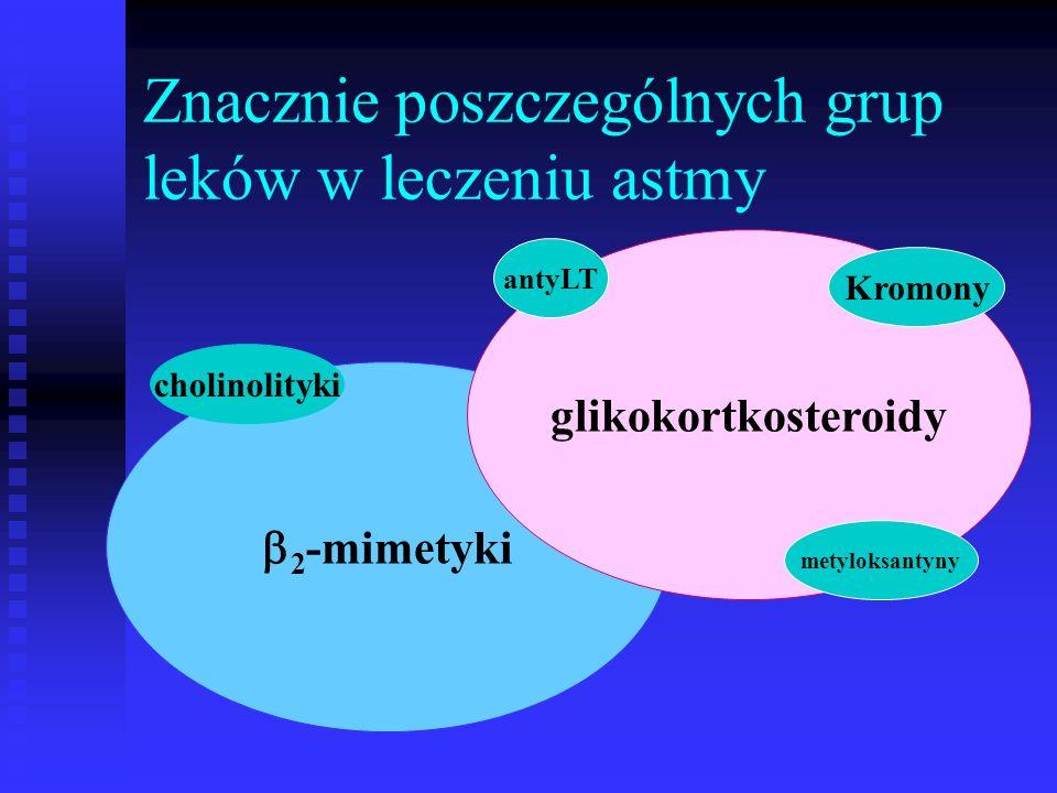 Znacznie poszczególnych grup leków w leczeniu astmy  2 -mimetyki glikokortkosteroidy metyloksantyny antyLT cholinolityki Kromony