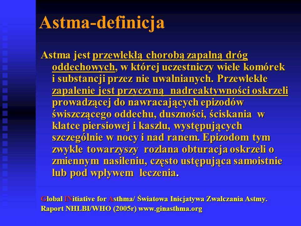 Astma-definicja Astma jest przewlekłą chorobą zapalną dróg oddechowych, w której uczestniczy wiele komórek i substancji przez nie uwalnianych.