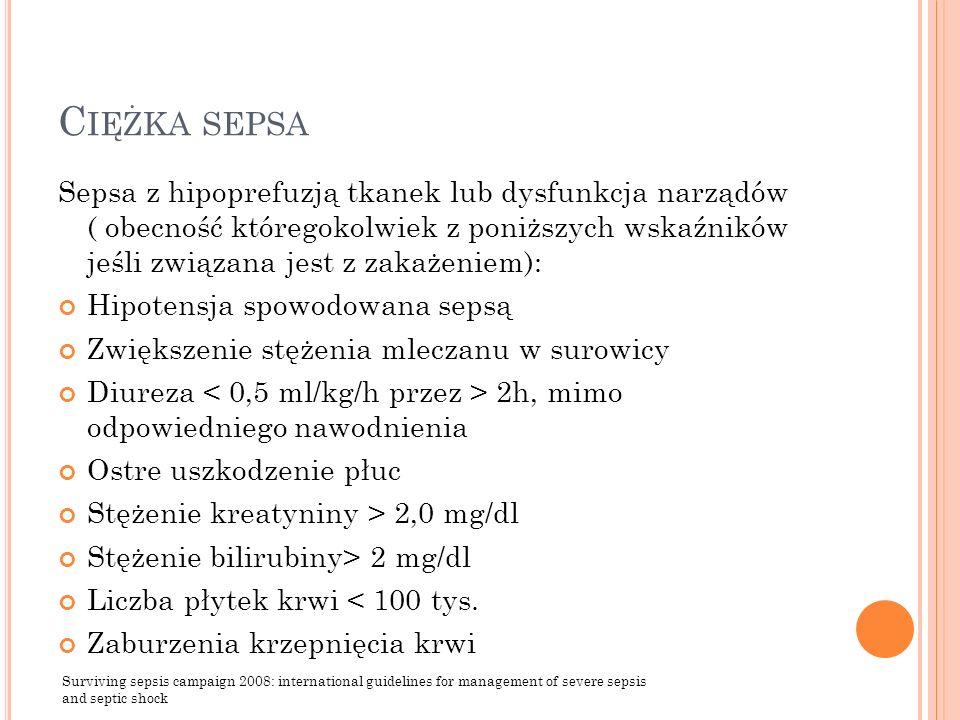C IĘŻKA SEPSA Sepsa z hipoprefuzją tkanek lub dysfunkcja narządów ( obecność któregokolwiek z poniższych wskaźników jeśli związana jest z zakażeniem):
