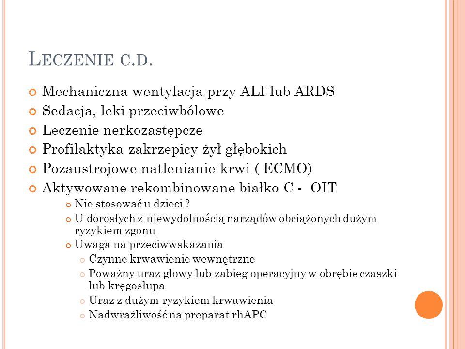 L ECZENIE C. D. Mechaniczna wentylacja przy ALI lub ARDS Sedacja, leki przeciwbólowe Leczenie nerkozastępcze Profilaktyka zakrzepicy żył głębokich Poz