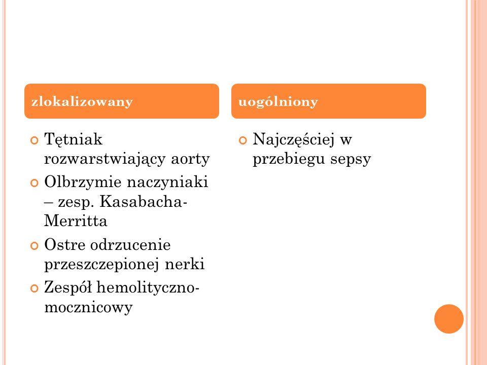 Tętniak rozwarstwiający aorty Olbrzymie naczyniaki – zesp. Kasabacha- Merritta Ostre odrzucenie przeszczepionej nerki Zespół hemolityczno- mocznicowy