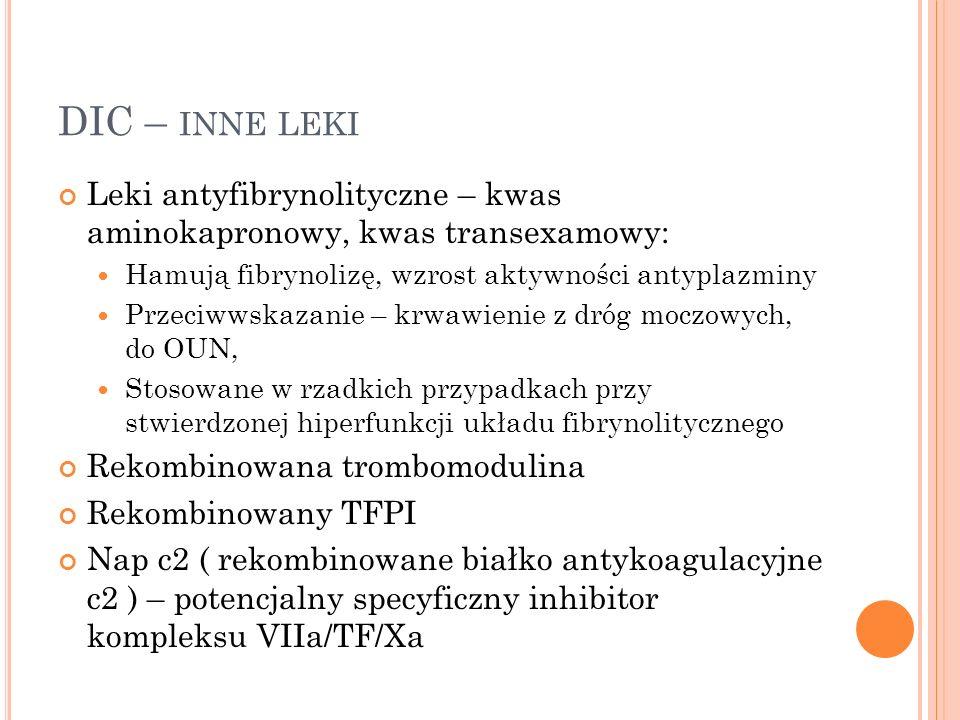 DIC – INNE LEKI Leki antyfibrynolityczne – kwas aminokapronowy, kwas transexamowy: Hamują fibrynolizę, wzrost aktywności antyplazminy Przeciwwskazanie