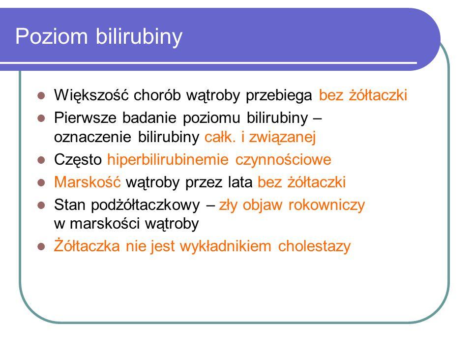 Poziom bilirubiny Większość chorób wątroby przebiega bez żółtaczki Pierwsze badanie poziomu bilirubiny – oznaczenie bilirubiny całk. i związanej Częst