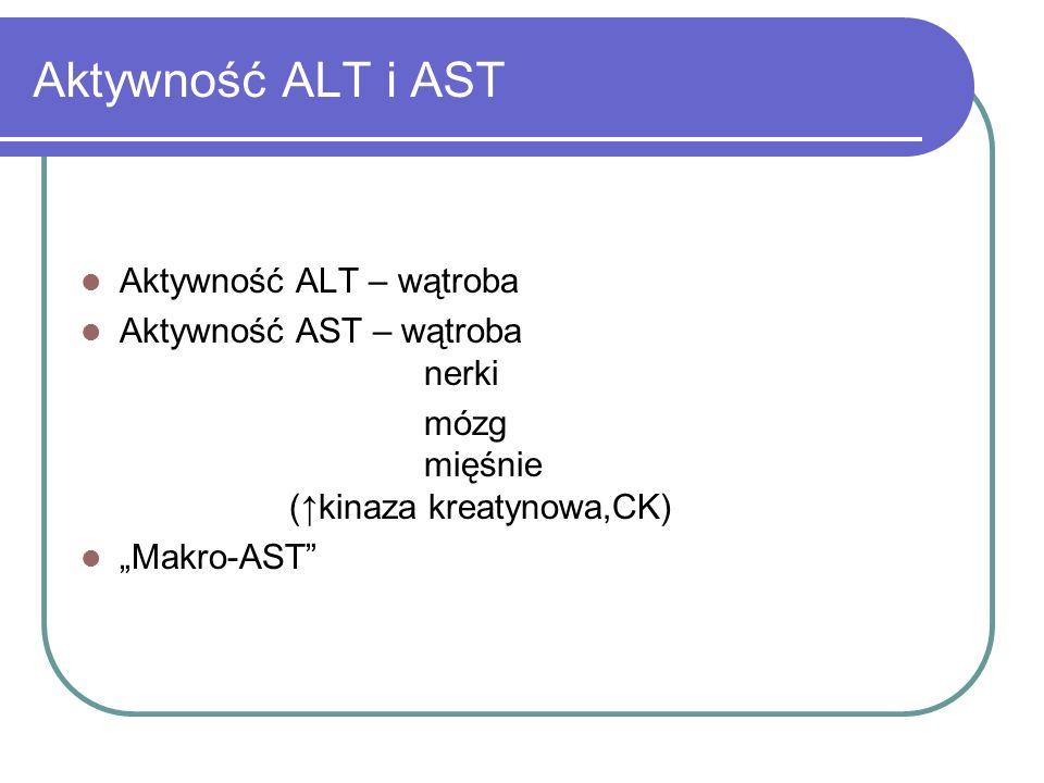 """Aktywność ALT i AST Aktywność ALT – wątroba Aktywność AST – wątroba nerki mózg mięśnie ( ↑ kinaza kreatynowa,CK) """"Makro-AST"""""""